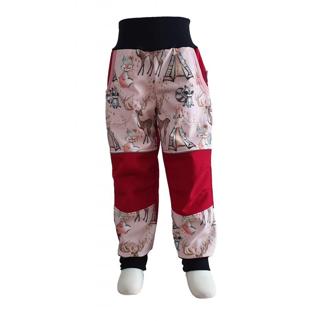 Zimní softshellové kalhoty - růžové teepee