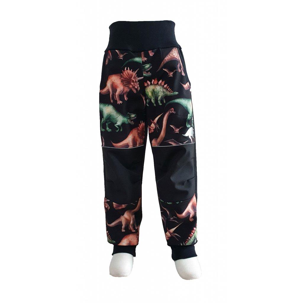 Zimní softshellové kalhoty - dinosauři na černé