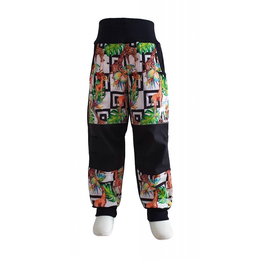 Zimní softshellové kalhoty - žirafy na černé