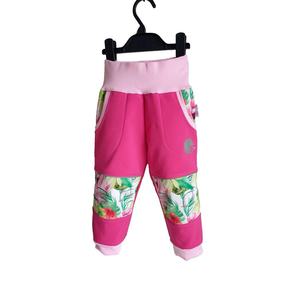 Softshellové kalhoty plameňáci na růžové s růžovou predek