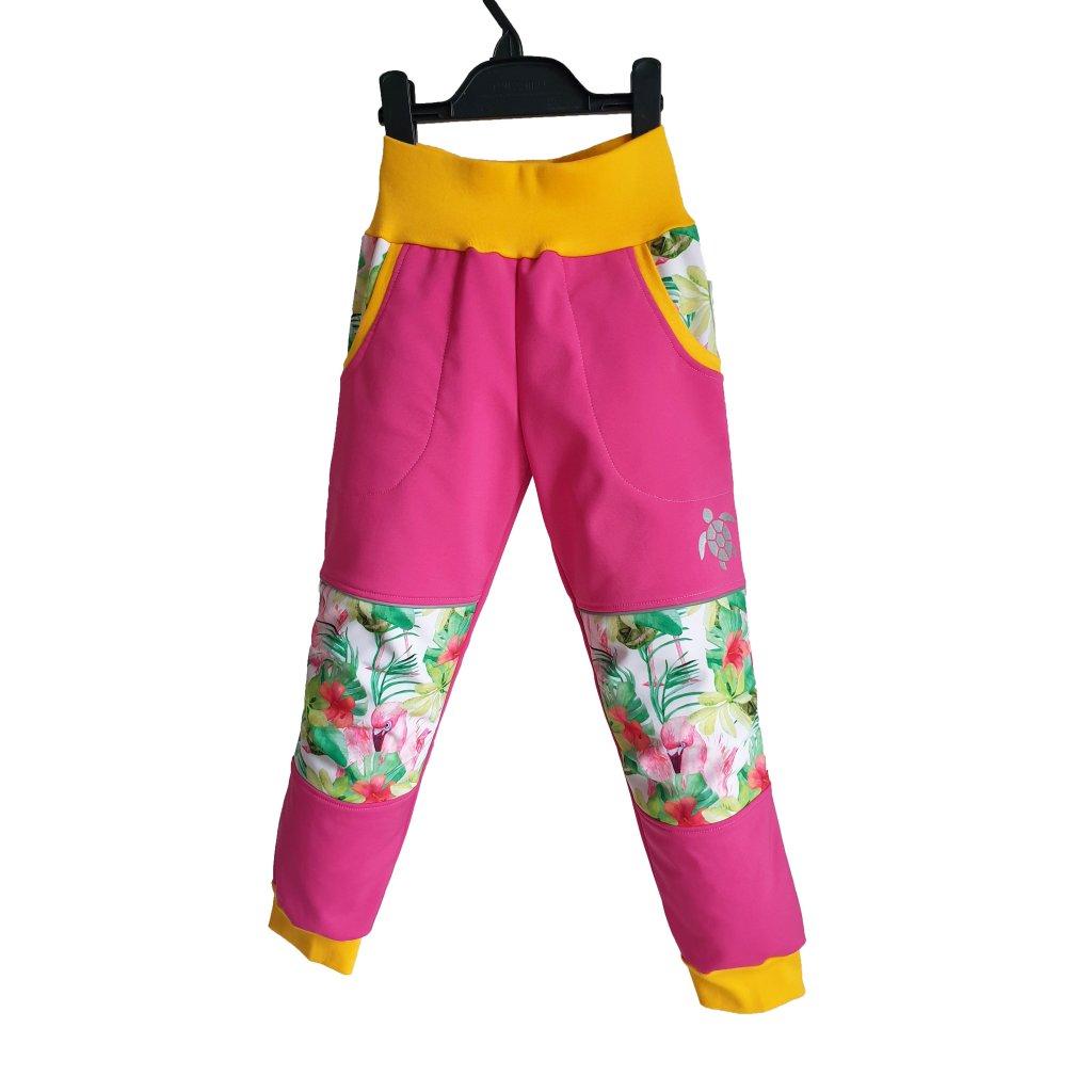 Softshellové kalhoty plameňáci na růžové predek