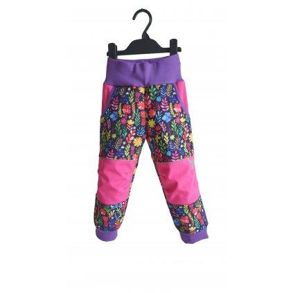 Softshellové kalhoty barevné kytky celopotisk PREDEK