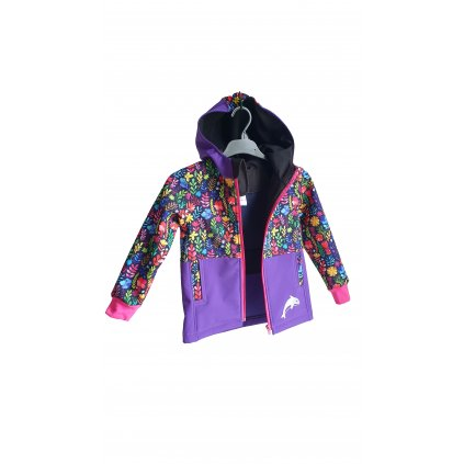 Softshellová bunda barevné kytky na fialové