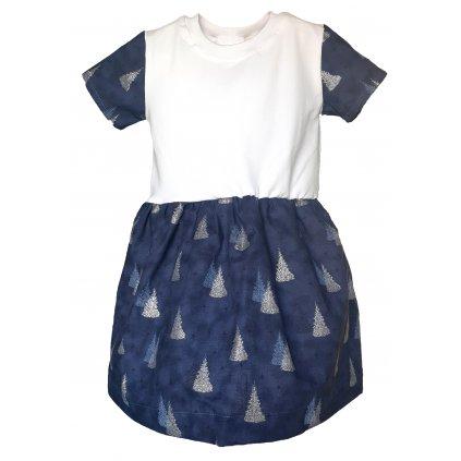 Vánoční šaty stromky a hvězdy na modré