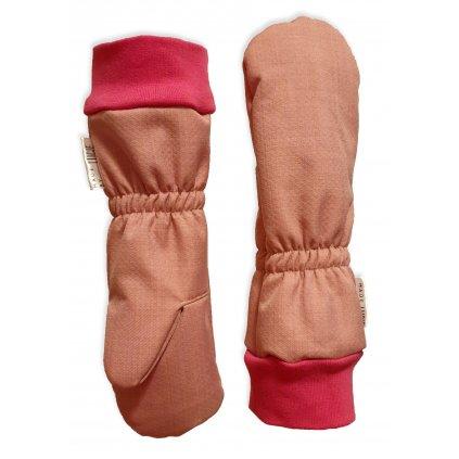 Zimní softshellové rukavice - starorůžové