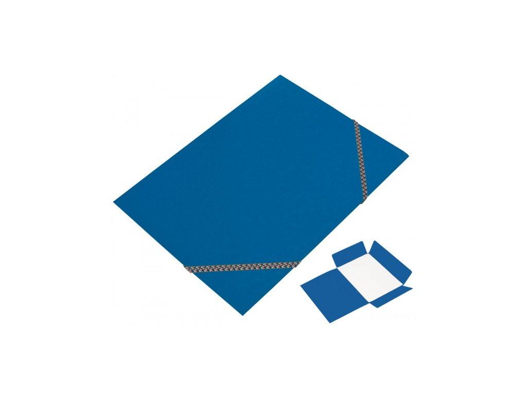 Prešpánové desky 3 klopé A4 s gumou modré