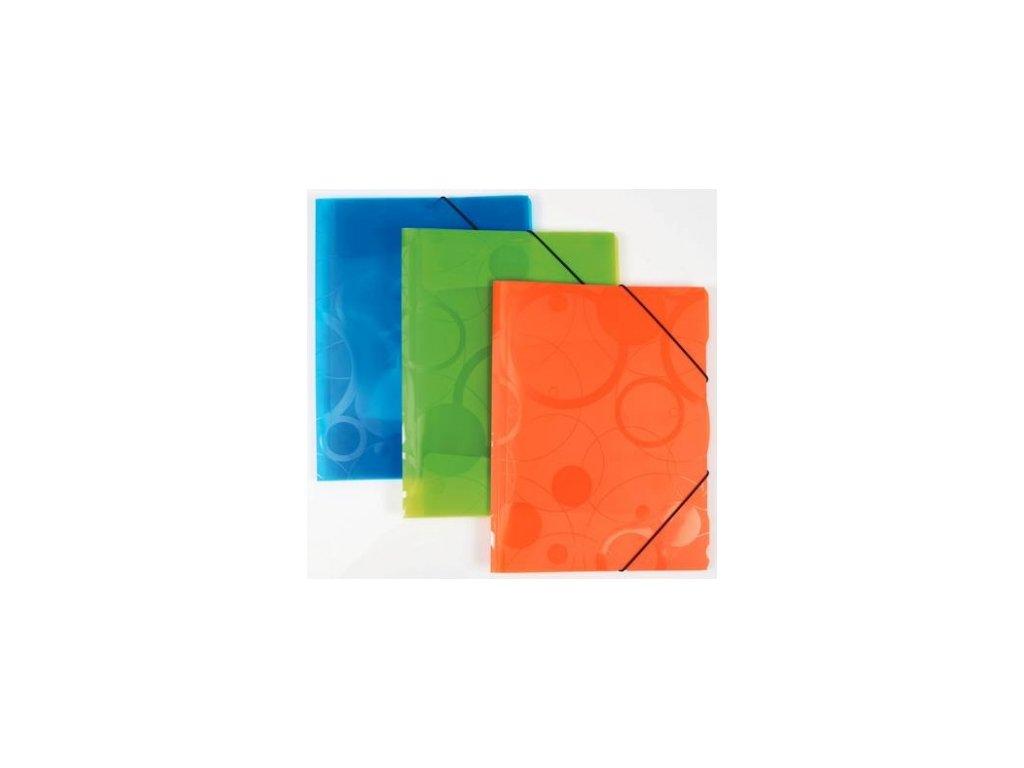 3 klopé složky s gumou A4 PP Neocolori zelená