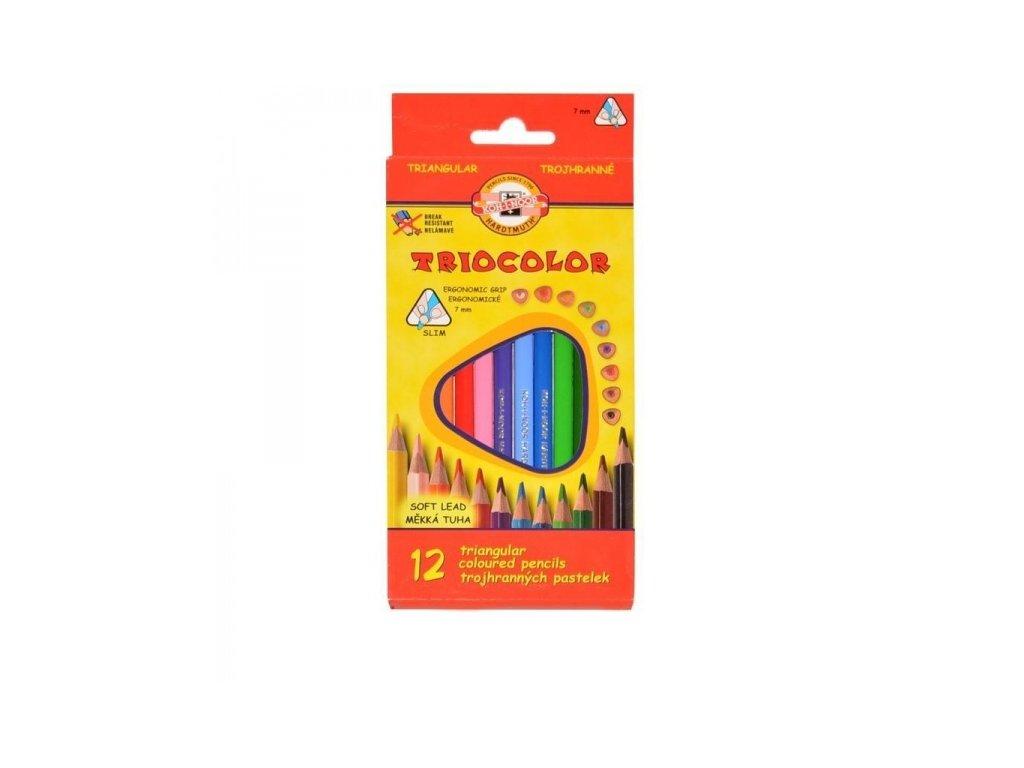 Pastelky trojhranné tenké 12 barev