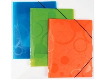 3 klopé složky s gumou A4 PP Neocolori oranžová