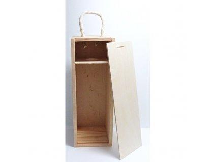 Dřevěná krabice na láhev se zasouvacím krytem