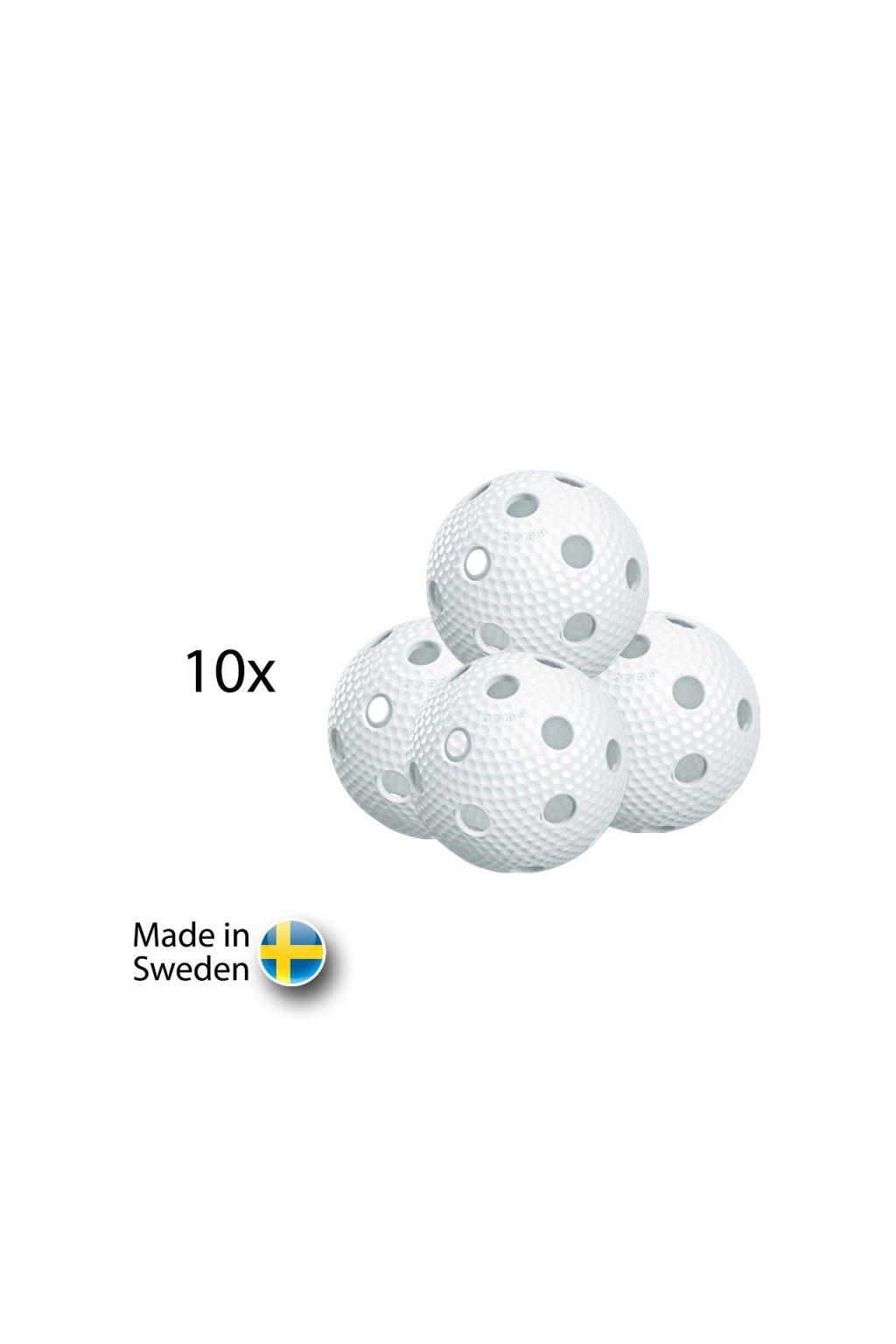 salming aero ball 10 pack white