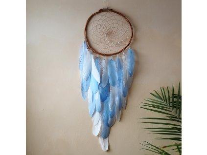 velky lapac snu s perim modry