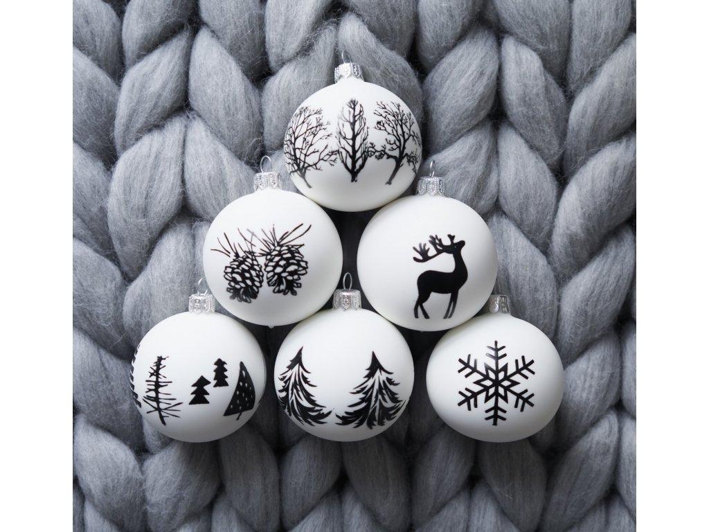 Vánoční ozdoby bílý mat