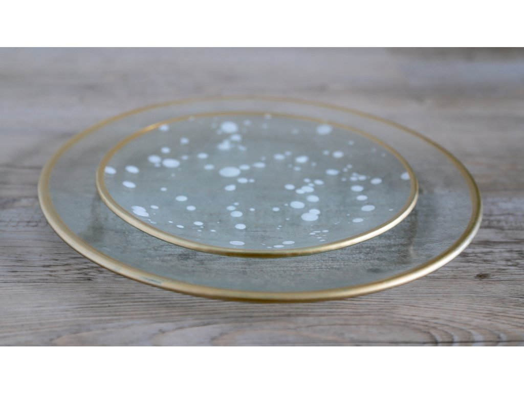 Talíř GOLD/bílý dekor, 20cm