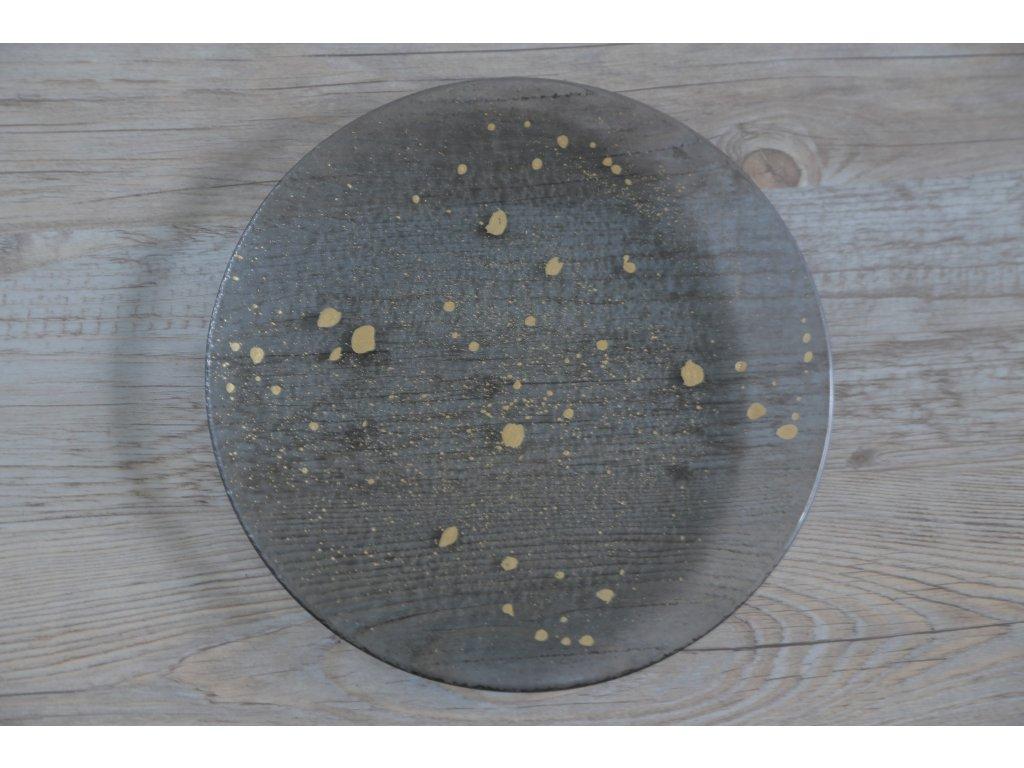Talíř GREY/zlatý dekor, 20cm