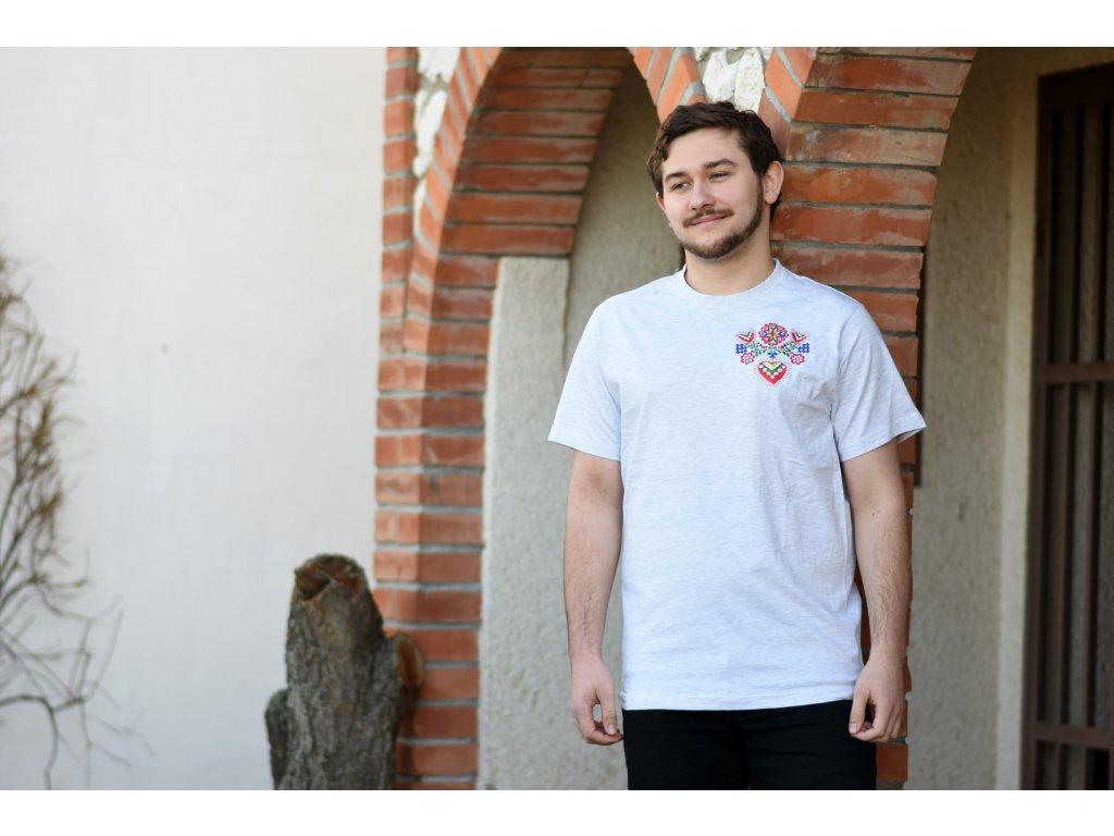 Folklórní pánské triko Mrňús - BÍLÉ