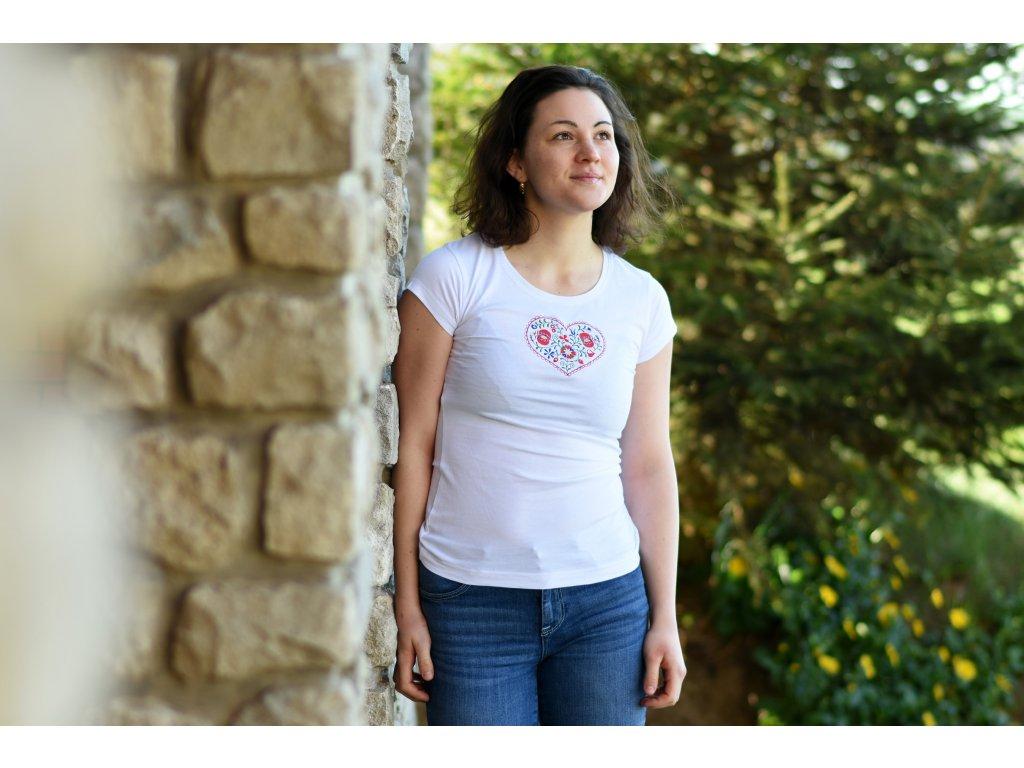 Dámské triko s lidovým motivem - SRDCE