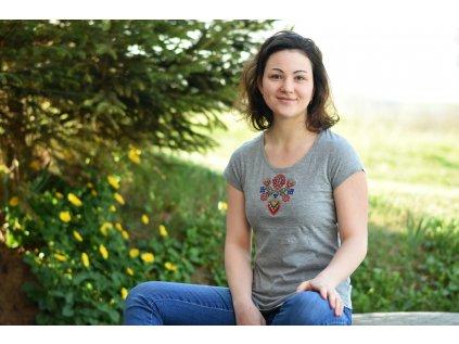 Folklórní dámské triko Tonka - ŠEDÉ