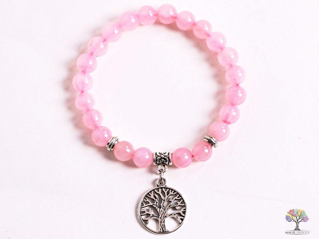 Náramek Růženín s přívěskem strom života - 8 mm kuličky růženínu - z přírodních kamenů - 141