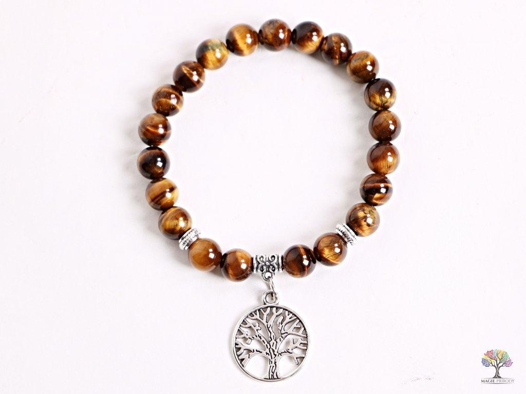 Náramek Tygří oko- 8 mm kuličky tygří oko - strom života - z přírodních kamenů - 142  + sleva 5% po registraci na většinu zboží + dárek k objednávce