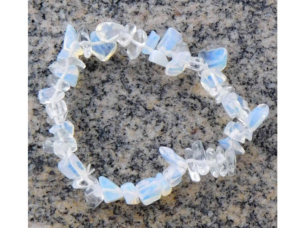Náramek sekaný - Opalit - měsíční kámen - tromlovaný - 43