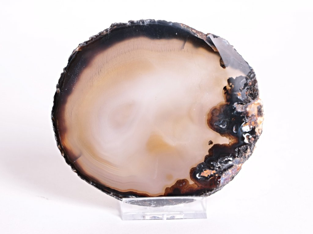 Achátový plát velikost 10 cm + stojánek - Top kvalita - 49