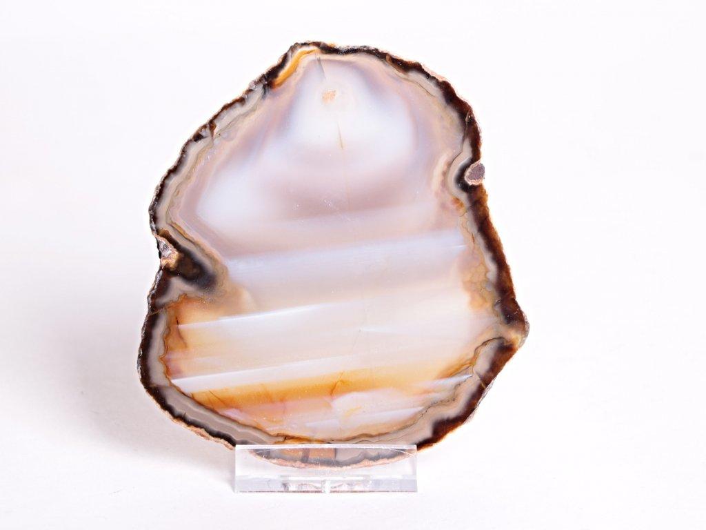 Achátový plát velikost 10 cm + stojánek - Top kvalita - 74