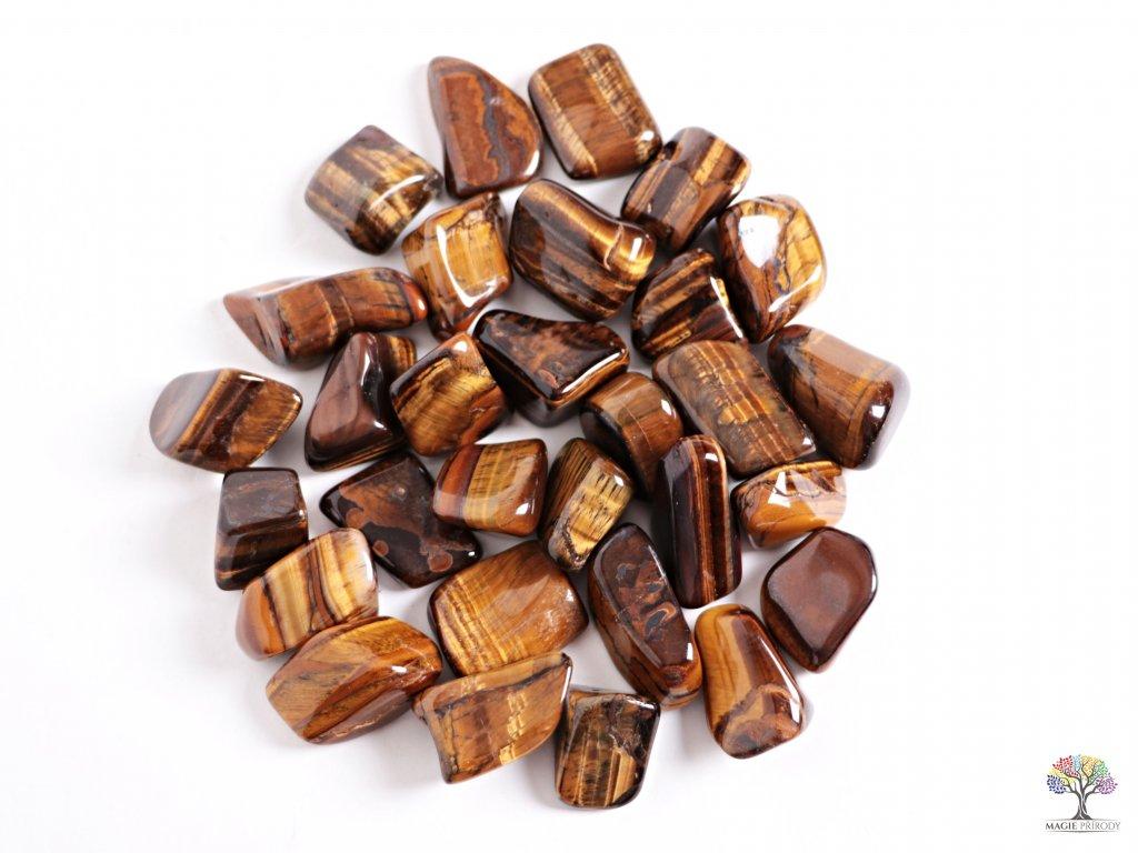 Tromlované kamínky Tygří oko XL - kameny o velikosti 30 - 55 mm - 1 kg - Brazílie