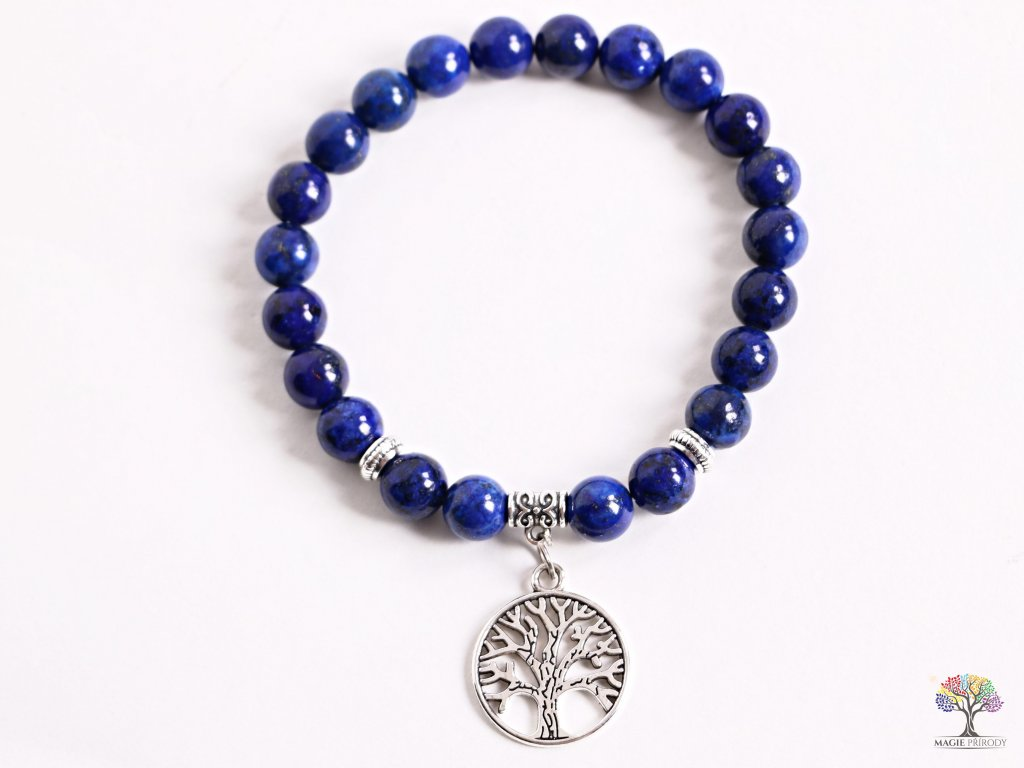 Náramek Lapis lazuli - 8 mm kuličky lapis lazuli - strom života - z přírodních kamenů - 149