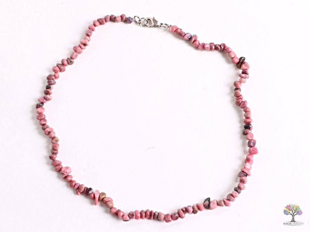 Náhrdelník Rodonit tromlovaný #27 - z přírodních kamenů  + sleva 5% po registraci na většinu zboží + dárek k objednávce
