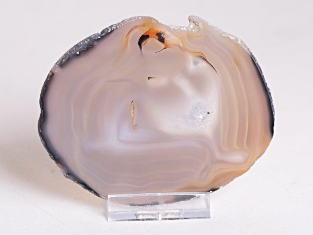 Achátový plát - velikost 9 cm + stojánek - Top kvalita - 264