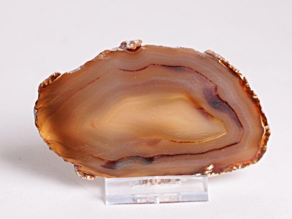 Achátový plát - velikost 9 cm + stojánek - Top kvalita - 288
