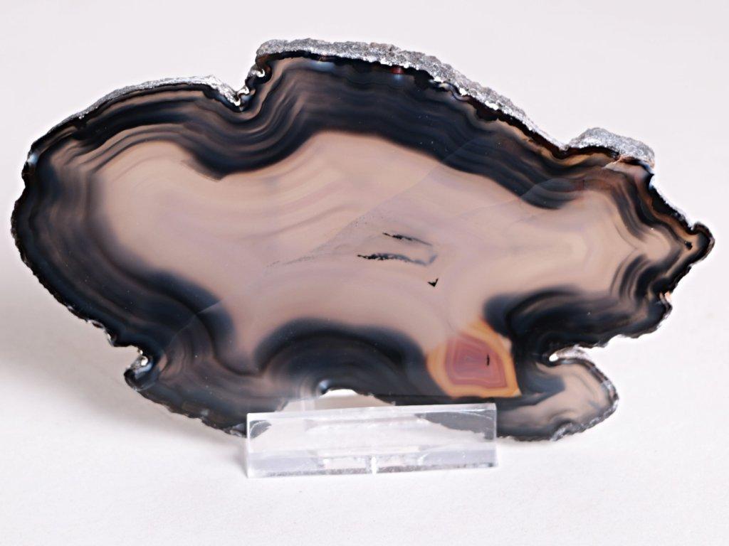 Achátový plát - velikost 10 cm + stojánek - Top kvalita - 328