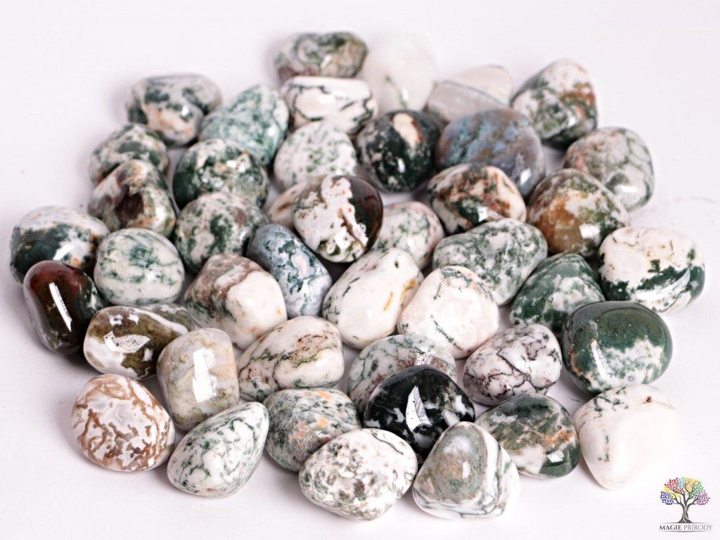 Tromlované kamínky Achát stromový - XL - kameny o velikosti 30 - 45 mm - 100g - Brazílie
