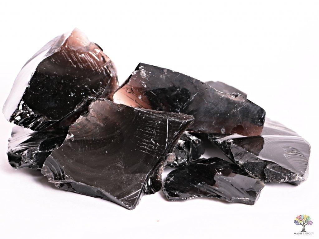 Obsidián Černý kouřový surový 5 - 15 cm - TOP kvalita 1kg
