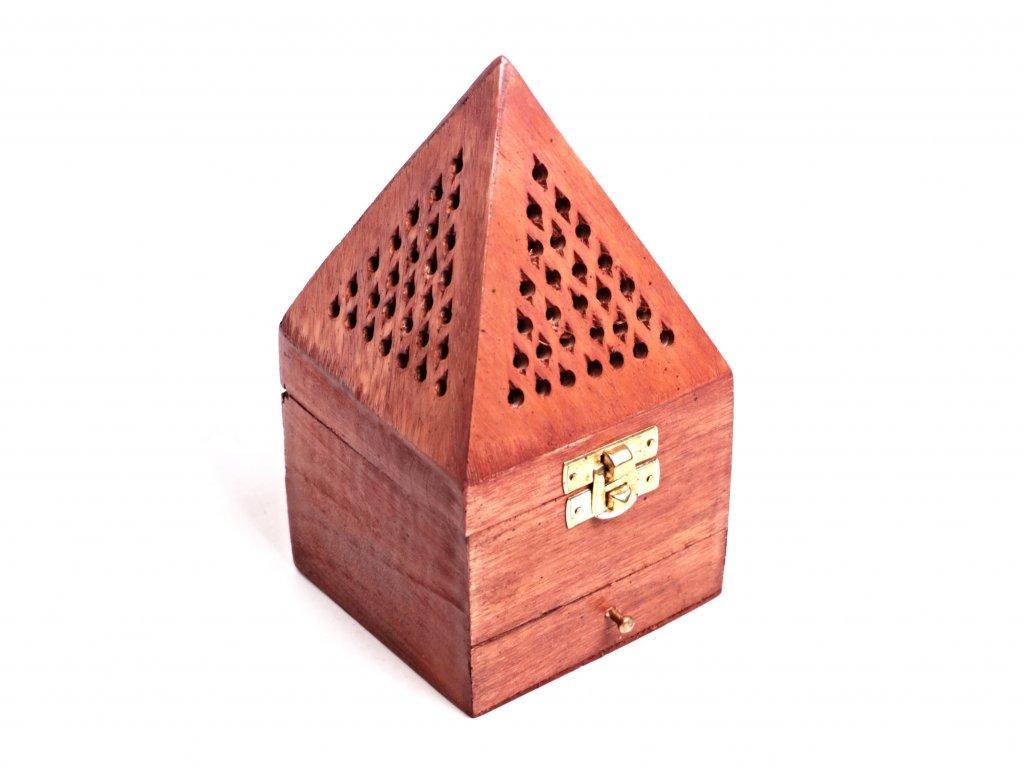 Dřevěná kadidelnice - pyramida se šuplíkem na františky - vykuřovadlo #51