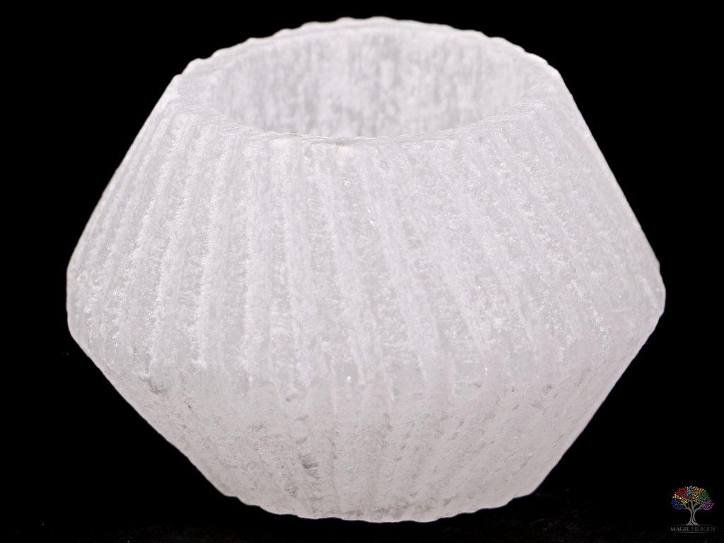 Svícen na svíčku - Soudek rýhovaný bílý - Selenit přírodní #06  + až 10% sleva po registraci