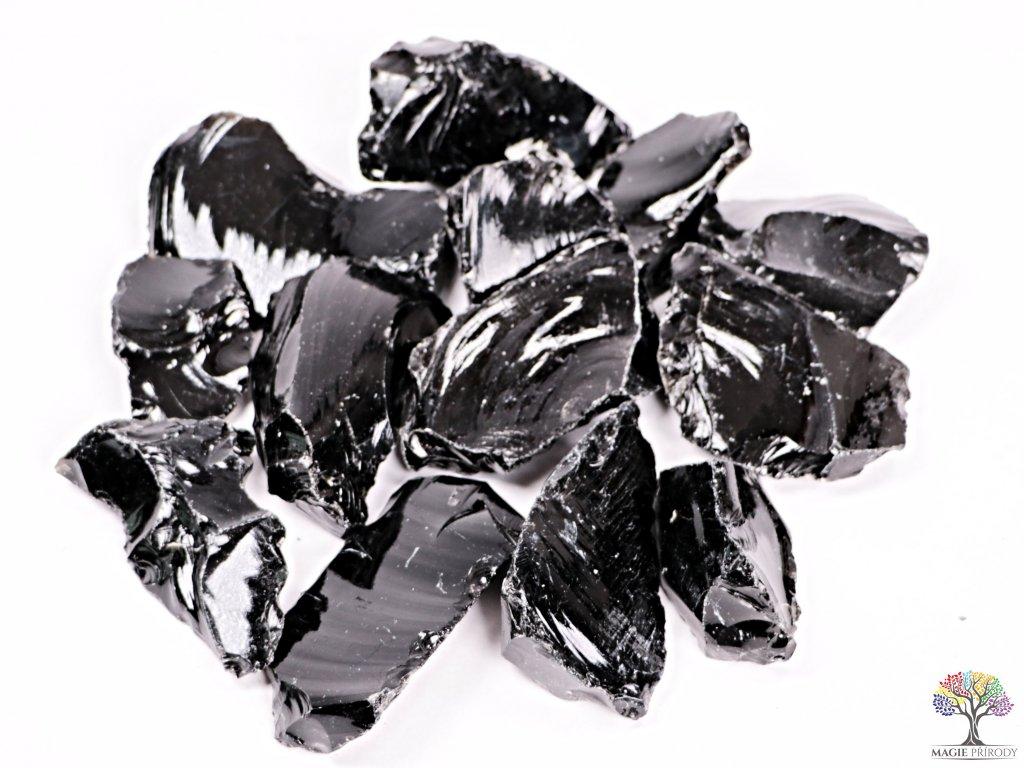 Obsidián Černý surový 5 - 10 cm - TOP kvalita 500g  + sleva 5% po registraci na většinu zboží + dárek k objednávce