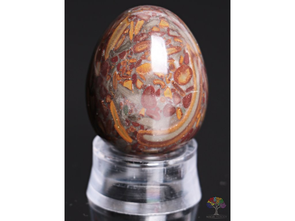 Yoni kamenné vajíčko - Jaspis brekcie - #13  + sleva 5% po registraci na většinu zboží + dárek k objednávce