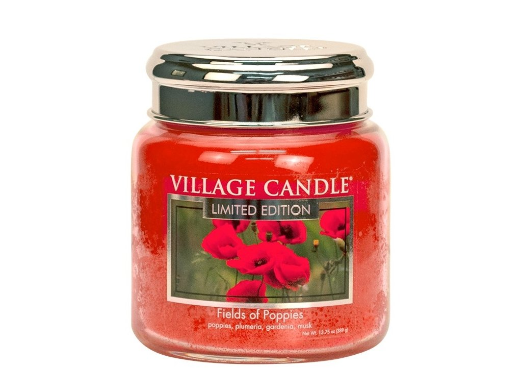village candle vonna svicka ve skle fields of poppies 16oz