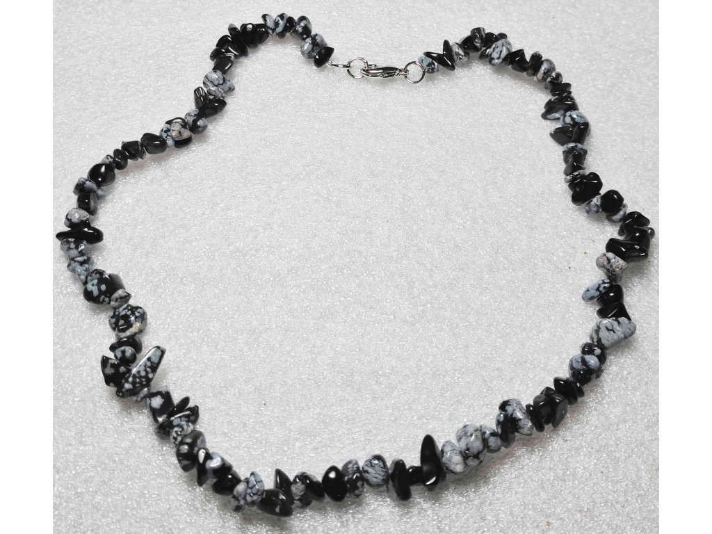 Náhrdelník sekaný - Obsidián - tromlovaný - 51