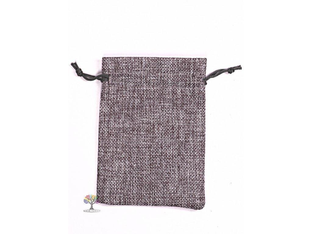 Dárková taška - Jutový pytlík šedá 10x14 cm - 07