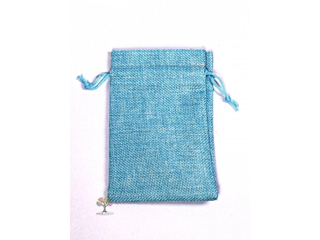 Dárková taška - Jutový pytlík modrá 10x14 cm - 08