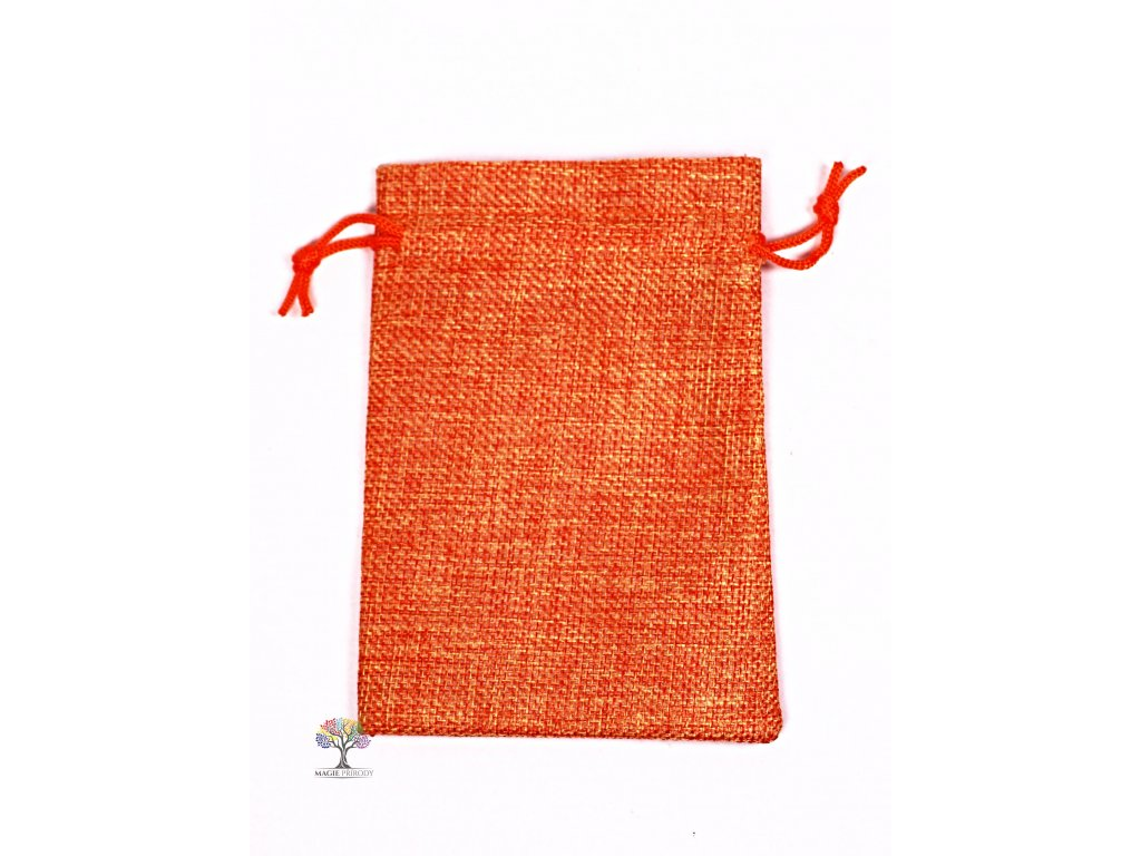 Dárková taška - Jutový pytlík oranžová 10x14 cm - 09