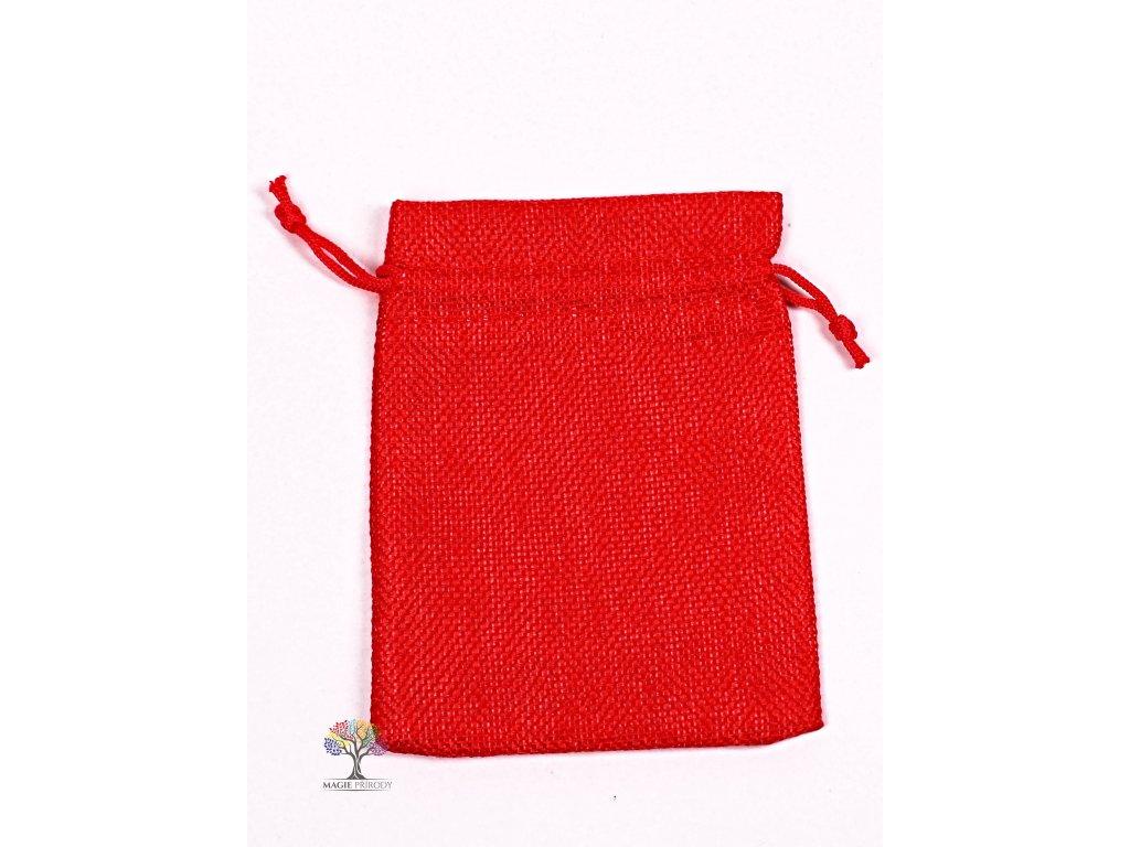 Dárková taška - Jutový pytlík červená 10x14 cm - 11