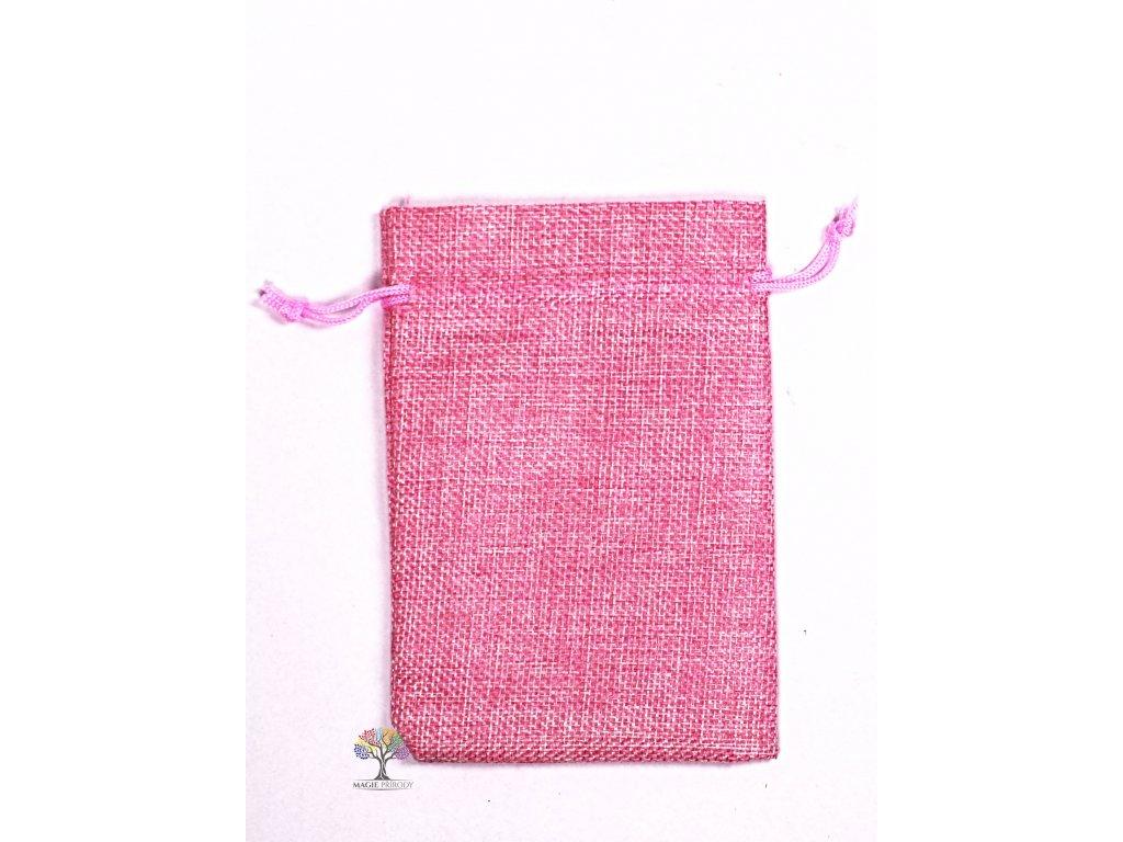 Dárková taška - Jutový pytlík růžová 10x14 cm - 12  + až 10% sleva po registraci