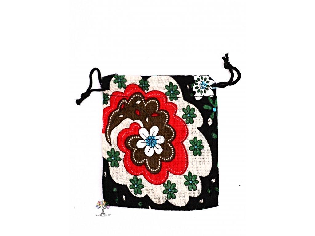 Dárková taška - pytlík vzor květin 10x12 cm - 16