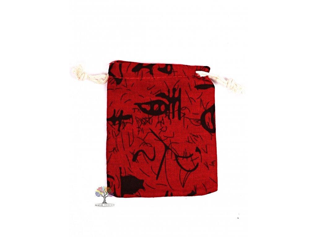 Dárková taška - pytlík vzor červená 10x12 cm - 19