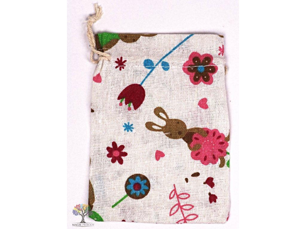 Dárková taška - pytlík vzor králik 10x12 cm - 32