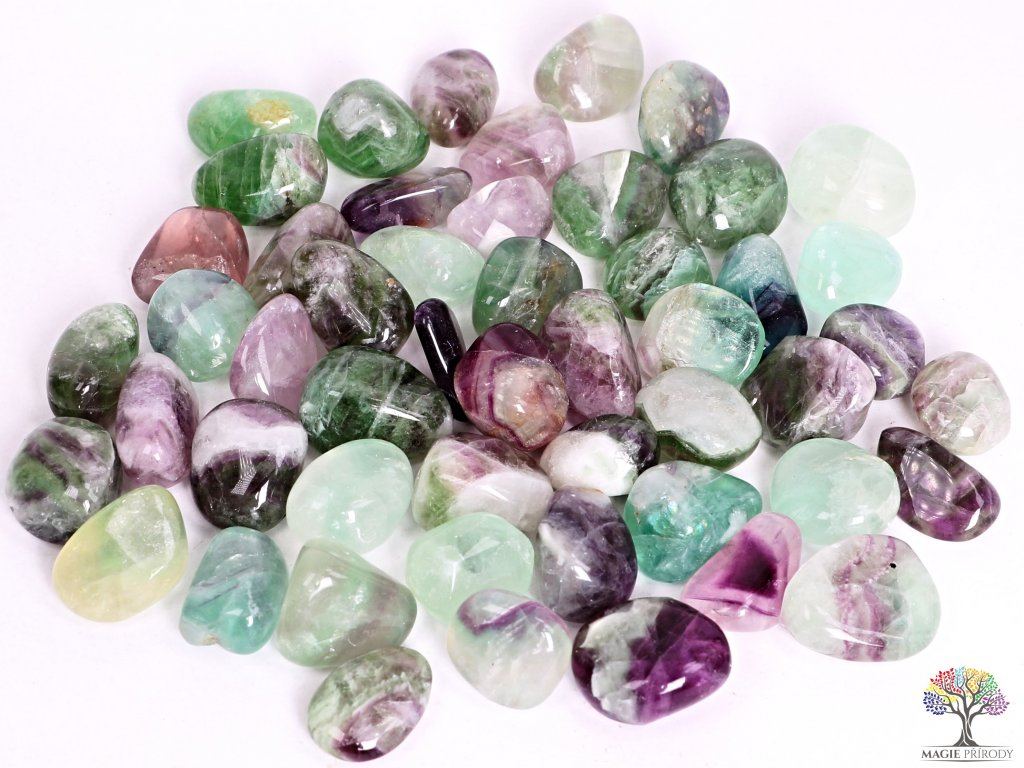 Tromlované kamínky Fluorit L - kameny o velikosti 25 - 40 mm - 1kg - Brazílie